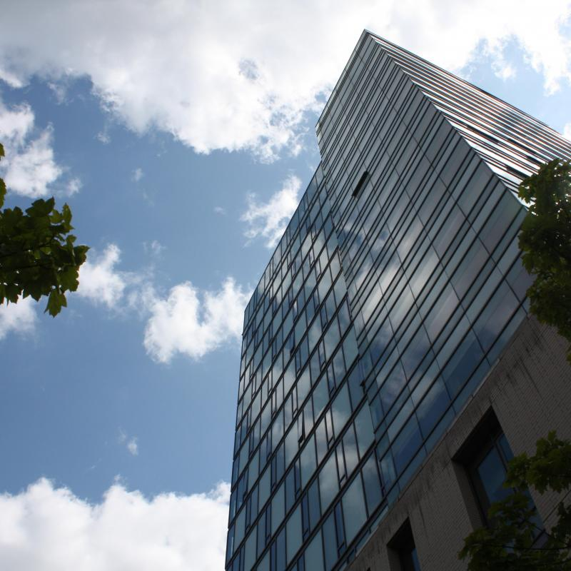 Photo of the residence tower from below.