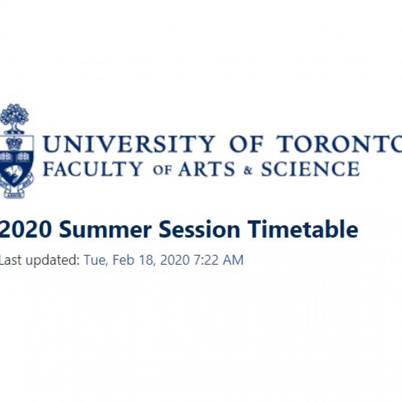 Summer 2020 timetable
