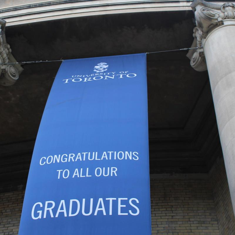 Congrats banner on convocation hall