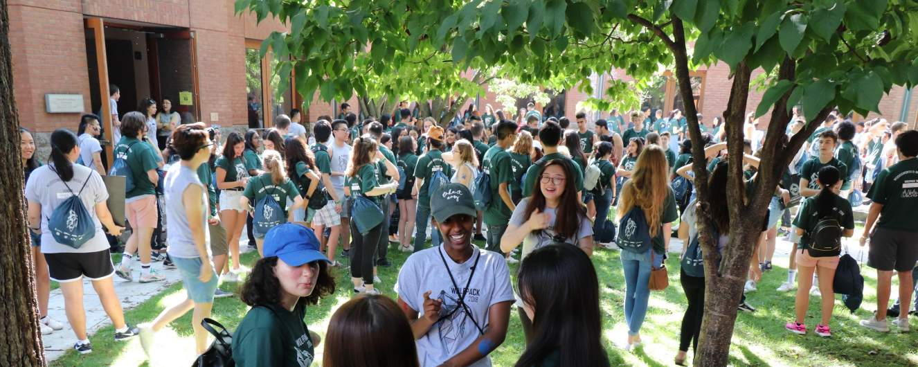 Students gathered in the Woodsworth Courtyard