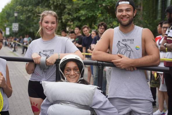 Students at Bed Races