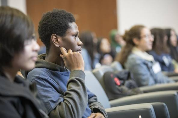 SEE U of T students listening to a lecture in a classroom.