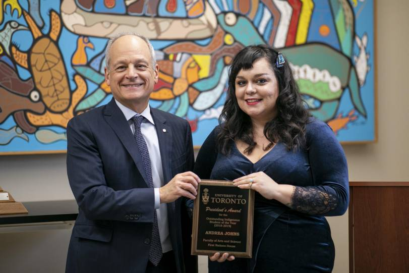 Andrea Johns with U of T President Meric Gertler at the ceremony.